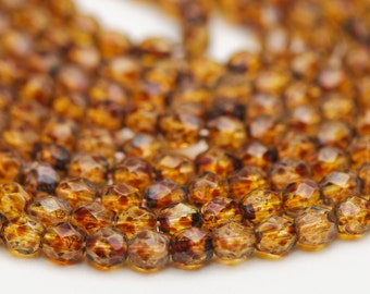 3mm Golden Tortoise Brown Czech Fire Polished Glass Beads - 16 inch strand - 130 pieces