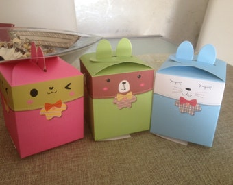 5 rabbit-shaped box in pink, green, blue