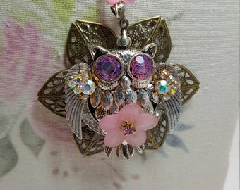 Re-purposed, upcycled assemblage vintage style rhinestone owl and flower necklace