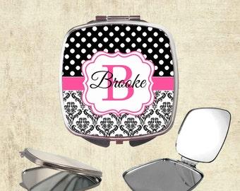 Bridesmaid Gift - Monogram Compact Mirror - Personalized Mirror - Monogram Bridesmaid Gift - Bridal Party Gifts - Personalized Pocket Mirror