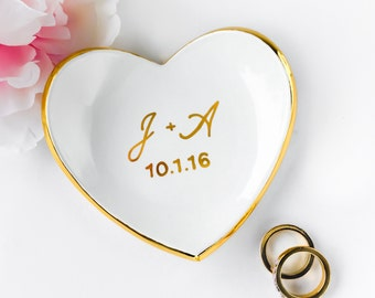 Monogrammed Ring Dish with Gold Rim - Heart Ring Dish, Ring Holder, Bridesmaid Gift, Wedding Favor, Sweet 16, Mother's Day