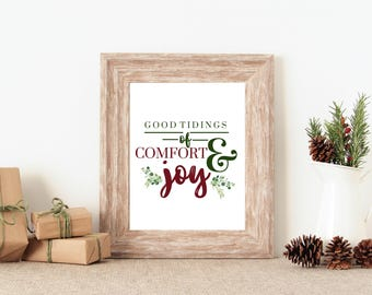Good Tidings Print/ Bookshelf styling, mantle styling, entry way, Christmas decor, rustic Christmas, instant download