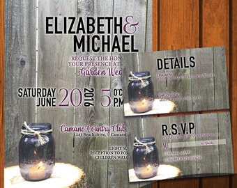 Backyard Wedding Invitation / Rustic Wedding Suite / Inviation Suite / Mason Jars / Purple / Country / Anniversary