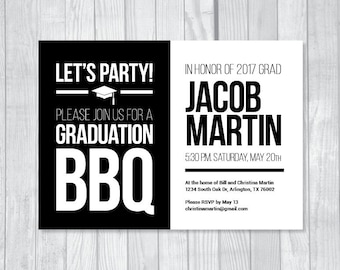 BBQ Graduation Party 5x7 Custom Personalized Printable Invitations, Grilling for the Grad, Class of 2018, Black and White Modern