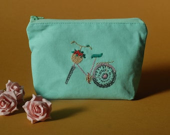 Make Up Bag, Embroidered Make Up Bags, Make Up Pouch, Embroidered Pouch, Cosmetic Bag, Zipped Wallet, Cycling Gifts, bicycle accessories