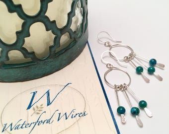 Silver and Turquoise/Gold and Brown Paddle Style Earrings