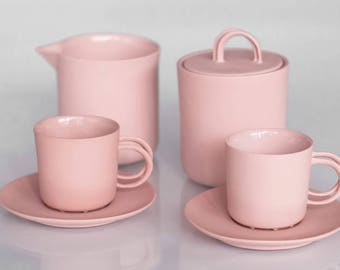 Pink Porcelain coffee set wedding gift porcelain and gold