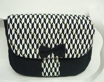 Shoulder bag black and white fantasy fabric