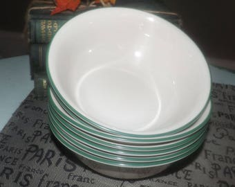 Vintage Corelle | Corning | Corningware Garden Home coupe-shape cereal, soup or salad bowl. Green rim, cream ground.Made in USA.