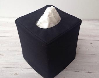 Black Linen reversible tissue box cover
