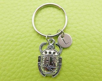 Egyptian Scarab Beetle stainless steel Keyring initial keychain