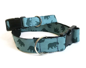 Bears! - Handmade MARTINGALE or BUCKLE dog collar