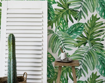 Jungle Leaves Wallpaper - Exotic Mural - Wall covering - Peel and stick - Repositionable - Self Adhesive - Watercolor - Wall Decal #175