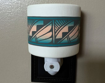 Grey Feather Southwestern Ceramic Night Light, Hand Painted by Native American Navajo Artist Frank Yazzie,