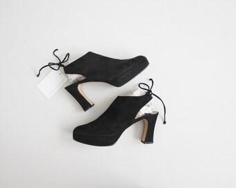 vintage Charles Jourdan mules | black suede mules 7.5 | platform mules