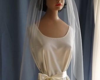 "Elbow Waist 28in Lengths Plain Edge Wedding Veil 54"" Wide - One Tier Veil - Bridal Veil - Ivory, Diamond White, White"
