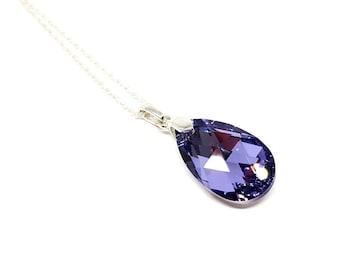 Crystal Necklace - Big Crystal Necklace - Teardrop necklace - Purple Crystal Necklace