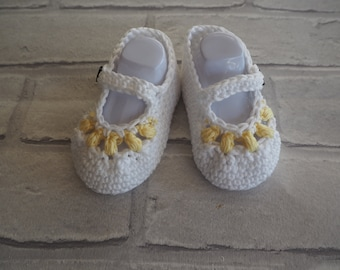 cotton Mary Jane shoes, baby girl booties, baby booties, baby shower gift, christening shoes, baby sandals, baby shoes.