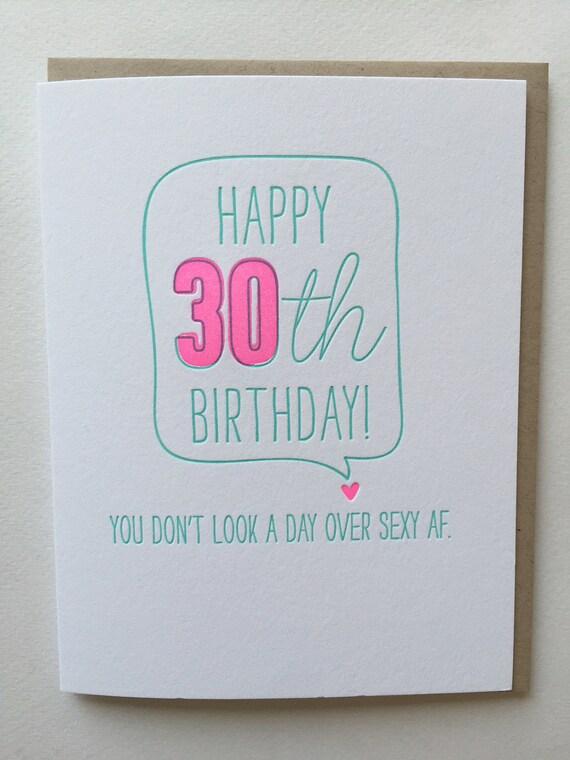 30th birthday card Funny Card for 30th birthday Letterpress