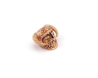 Rose Gold Skull with Horns, 2 Rose Gold Plated Brass Skull Head Bracelet Parts (11.50x19mm) N372 Q163