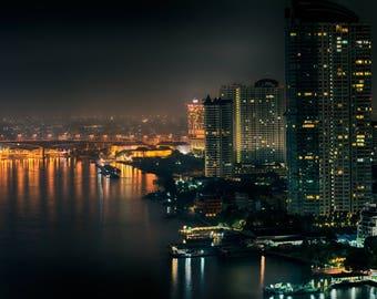 Bangkok Riverview at Night Photo Print
