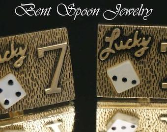 Vintage Lucky Seven Gamblers Novelty Cufflinks Man's Gift, Bachelor Gift