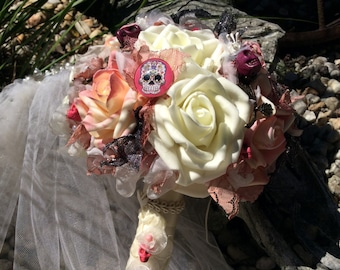 Skull Wedding Bridal Flowers-Gothic Wedding-Pink-Black Wedding Flowers-Brides-Pink/Black Wedding-Halloween Flowers-Day of the Dead Wedding