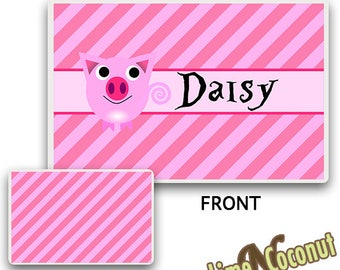 Pig Placemat, Childrens Dishes Place Mat, Baby Placemat, Pig Dishes, Childrens Dinnerware Kids Tableware, Baby Dishes, Personalized Placemat