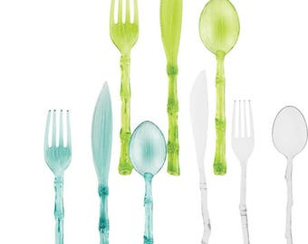 Bamboo Styled Plastic Reusable Cutlery Service for 4