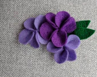 Purple Felt Flower Brooch