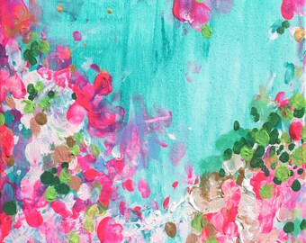 May Garden - Living Room Home Decor - Abstract Art - Large 24x24 Print - Poster - Landscape - Bright - Pink - Blue - Statement Art