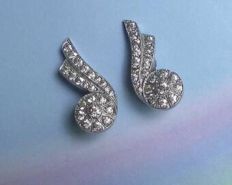 Vintage 30s Deco Rhinestone Comet Earrings Clip On