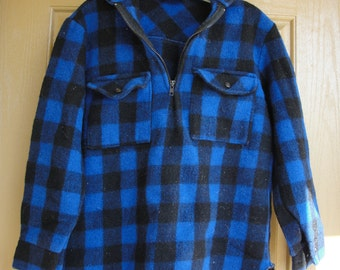 Plaid jacket pullover mens size Small 80s 1980s by Egmont 100% pure new wool blue warm winter wear