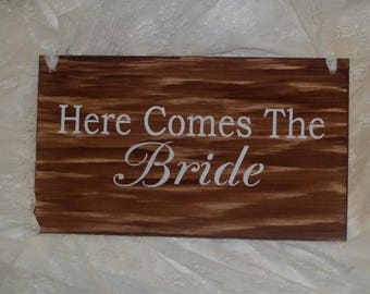 Here comes the BRIDE, rustic wedding sign, hung by lace ribbon, bridal shower gift, country wedding, barn wedding, outdoor, shabby chic