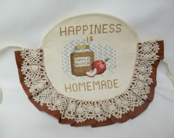 Vintage Cross Stitch Apple Broom Cover, Kitchen Decor, Apple Butter, Happiness Is Homemade