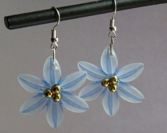 Dangle Blue Flower Earrings   #429    Free Shipping within US