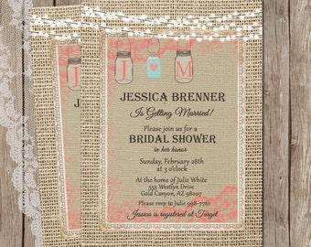 Rustic Burlap Bridal Shower Invitation, Mason Jar, Lights, Digital File, Printable, 5x7