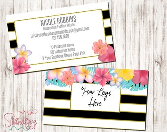 Custom Business Card, Small Business Owner, Boutique Business Cards, Tropical business cards, Inspired by LLR