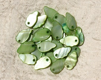 10pc - charms Pearl leaf 16mm Green 4558550016973 wings