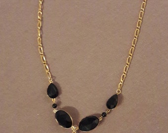 Necklace black and gold Swarovksi