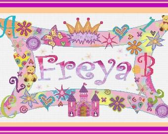 Princess Girls Nameplate Sampler//Funky Pink Nameplate Cross Stitch // Name Sampler // Princess Castle Girls Personalized Cross Stitch