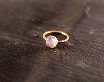 Moonstone Thick Gemstone Ring - ONE RING (Gold Rose Gold Sterling Silver June Birthstone Stacking Ring Gifts For Her Under 50)