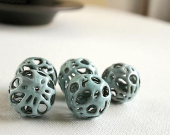Foggy Blue Too Torch Fired Enamel Beads - Set of 5