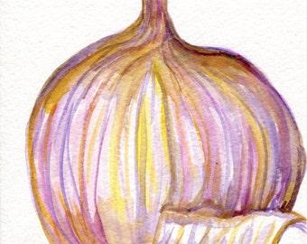 Garlic watercolor painting original, wabi-sabi kitchen wall decor 5 x 7 garlic art. watercolor painting garlic, illustration