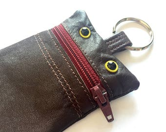 Monster Change Purse - Recycled Leather Keychain, Pouch, Wallet, Chocolate brown, wine red