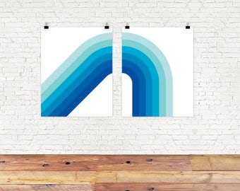 Ocean Corner Print Set, Set of 2, Giclee Print, beach, Mid Century Modern, Retro Art, Office Decor, Wall Art Set blue rainbow
