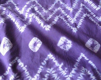 Purple and White Shibori Batik Fabric