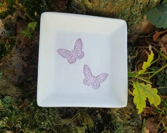 Handmade Clay Trinket dish handmade with pink butterflies -Gift, Jewellery, accessory, Home, Bedroom