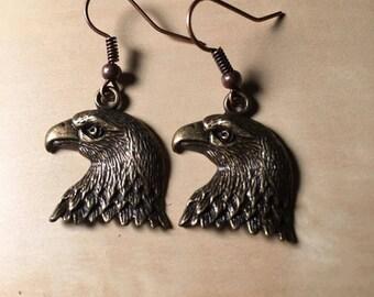 Alloy Metal American Eagle Dangle Earrings for Pierced Ears