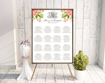 Wedding Seating Chart (Theresa) -Digital File, DIY, Printable, pdf, Monogram, Coral, Watercolor, Flower, Floral, Peach, Summer, Spring, Fall